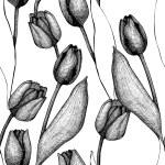 Seamless vector tulip pattern — Stock Vector