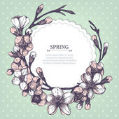 Vektör bahar kartı veya davetiye tasarım el ile çiçeklenme meyve ağaç dal illüstrasyon nane zemin üzerine çizilmiş — Stok Vektör