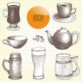 Vector collection of vintage hand drawn drink-things illustrations isolated on white — Stock Vector