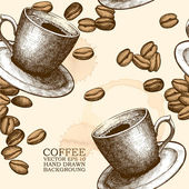 Hand drawn coffee cup illustration on spotted background with coffee beans — Stock Vector