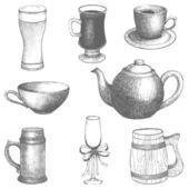 Vector collection of vintage hand drawn drink-things illustrations — Stock Vector
