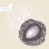 Vector vintage design for you Easter card or invitation with hand drawn bird nest illustrations — Stock Vector
