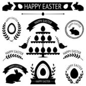 Vector collection of black retro icons for easter design isolated on white — Stock Vector