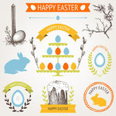 Vector collection of retro Easter icons with hand drawn vintage illustrations for your card or invitation design — Stock Vector