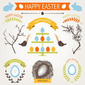 Vector collection of cute retro Easter icons for your card or invitation design — Stock Vector