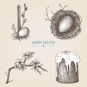 Vector vintage collection of hand drawn Easter illustrations on spotted background — Stock Vector