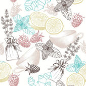 Seamless vector pattern with hand drawn tea times elements, berries and herbs — Stock Vector