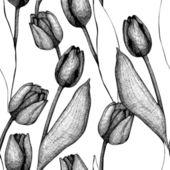 Patrón de tulipán vector transparente — Vector de stock
