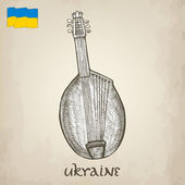Vintage vector illustrations of national Ukrainian musical instrument — Stock Vector