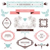 Vintage collection of Vector wedding design elements — Stock Vector