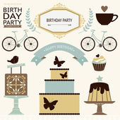 Birthday celebration icons — Stock Vector