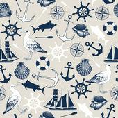 Seamless sea elements pattern — Stock Vector