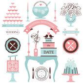 Vintage set of wedding elements — Stock Vector