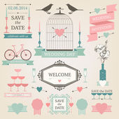 Vintage set of wedding elements — Stock Vector