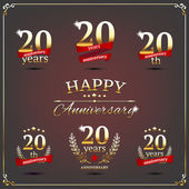 Twenty years anniversary signs collection — Stockvektor