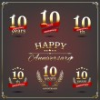 Ten years anniversary signs collection — Stock Vector