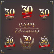 Thirty years anniversary signs collection — Stock Vector