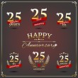 Twenty five years anniversary signs collection — Stock Vector #49595651