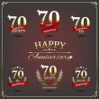 Seventy years anniversary signs collection — Stock Vector #49595725