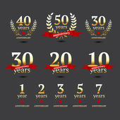 Vector set of anniversary golden signs — Stock Vector