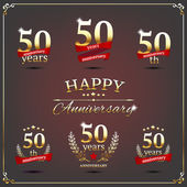 Fifty years anniversary signs collection — Cтоковый вектор