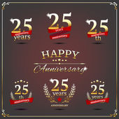 Twenty five years anniversary signs collection — Stock Vector
