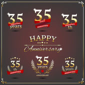Thirty five years anniversary signs collection — Stock Vector