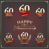 Sixty years anniversary signs collection — Stock Vector