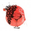 Grapes and wine glass — Stock Vector