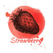 Hand drawn vintage strawberry — Stock Vector