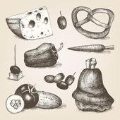 手描きの異なる食品 — ストックベクタ
