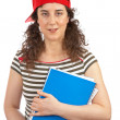 Student woman with red cap — Stock Photo #5880905