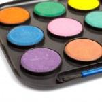 Watercolors and brush — Stock Photo #6339550