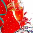 Champagne glass with red shopping bag — Stockfoto #6348090