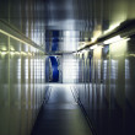 Interior hallway to aircraft door — Stock Photo
