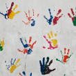 Kids hand prints — Stock Photo