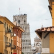 Pisa street and Leaning Tower — Stock Photo