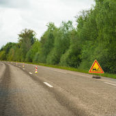 Loose gravel on the highway — Stock Photo