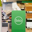 Organic food (bio) aisle in store — Stock Photo