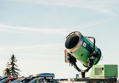 Snow cannon in parking — Stock Photo