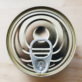 Tin can with ring pull from above — Stock Photo