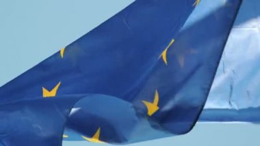 Flag of EU in front of Parliament, Strasbourg — Stock Video