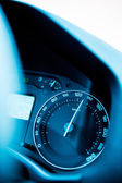 Speedometer close-up with excesive speed — Stock Photo