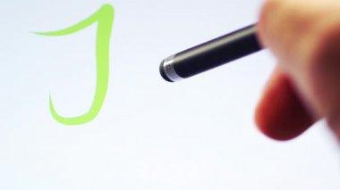 Psaní slovo práce na tabletu — Stock video