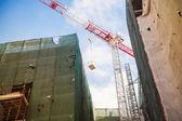 Crane at reconstruction site — Stock Photo