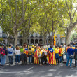 Human chain for the catalan independence — Stock Photo