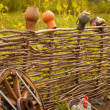 Stock Photo: Craft pots on fence