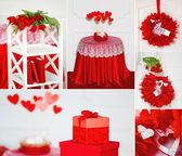 Red Valentine's collage — Stock Photo
