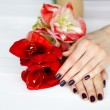 Body care woman hands with manicure and flowers top view — Stock Photo