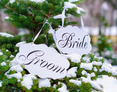 Bride and groom decoration boards — Stock Photo